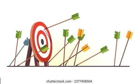 Muchas flechas perdieron el objetivo. Disparo. Varios intentos fallidos inexactos para alcanzar el objetivo del tiro con arco. Metáfora del fracaso del desafío comercial. Dibujo plano de objetos vectoriales aislados