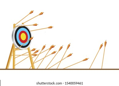 Many arrows missed hitting target mark. Shot miss. Multiple failed inaccurate attempts to hit archery target. Business challenge failure metaphor. Flat cartoon isolated vector object illustration