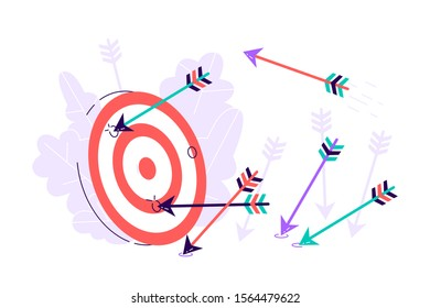Many arrows missed hitting target mark. Shot miss. Multiple failed inaccurate attempts to hit archery target. Business challenge failure metaphor.Flat style cartoon isolated vector object illustration