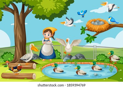 Many birds in the nature park scene with gardener girl illustration