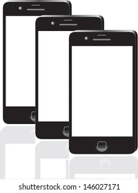 Many black smartphone, 3d render. Smart phone isolated over white