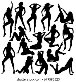 Many black vector silhouettes of beautiful women. Vector sexy girl in bikini swimsuit. Slim body full-length, sitting, lying down illustration of attractive young women.