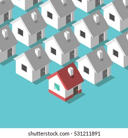 Many black and white isometric houses and a colorful one. Real estate and home concept. Flat design. EPS 8 vector illustration, no transparency