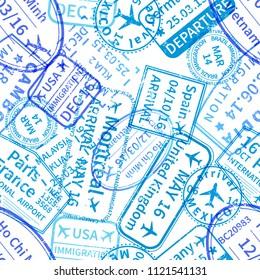Many blue International travel visa rubber stamps imprints on white, seamless pattern