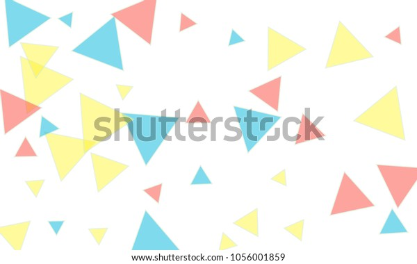 Many Blue Pink Yellow Triangles Different Stock Vector