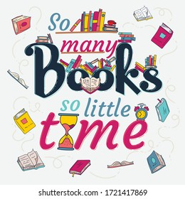 So many books so little time quote colorful typography design