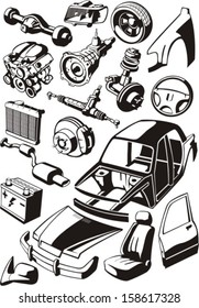 many car parts silhouettes set
