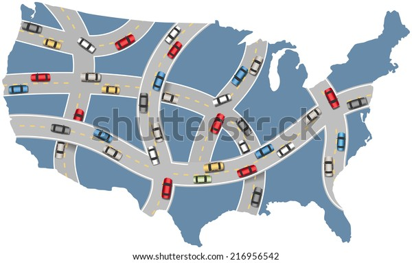 Many Cars Drive Usa Roads On Stock Image | Download Now