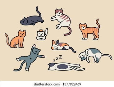 Many cats in various poses. Outline style character design. flat design style minimal vector illustration