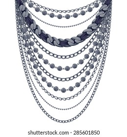 Many chains black metallic necklace. Personal fashion accessory design.
