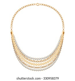 Many chains golden metallic necklace with diamonds. Personal fashion accessory design.