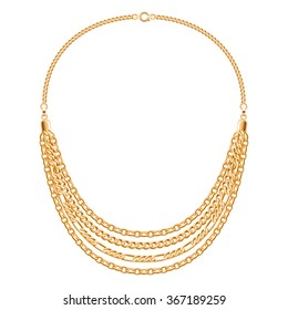 Many chains golden metallic necklace. Personal fashion accessory vector design.