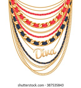 Many chains golden metallic and pearls necklace. Ribbons wrapped. Diva word pendant. Personal fashion accessory design.