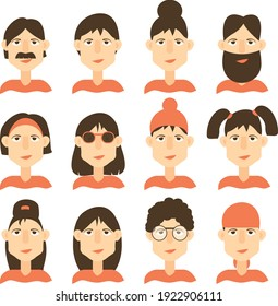 many characters, heads of people with hairstyles