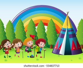 Many children camping out in park illustration