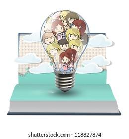 Many children inside a bulb on a pop up book. Vector illustration.