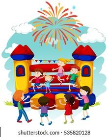 Many children jumping on bouncing castle illustration