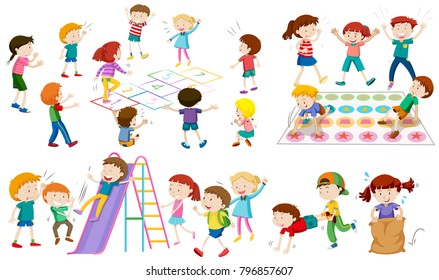 Many children play different games illustration