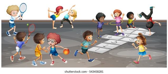 Many children playing different sports  illustration