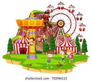 Many children playing rides at funpark illustration
