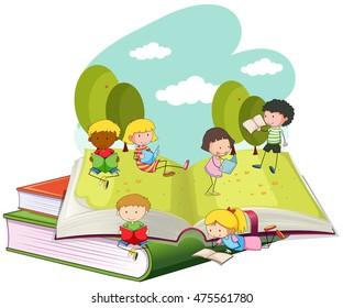 Many children reading books in the park illustration