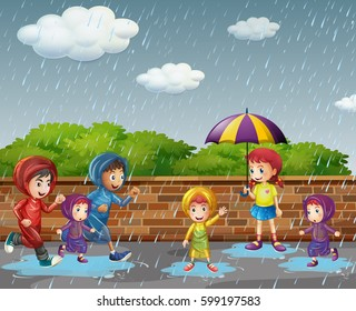 Many children running in the rain illustration