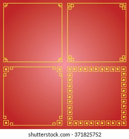 Many Chinese border, Chinese decorative frame on red background