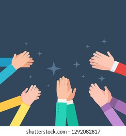 Many clapping hands. Applaud hands. Concept congratulations, Bravo. Vector illustration