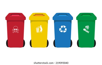 many color  bins set with waste icon, illustration of waste management concept