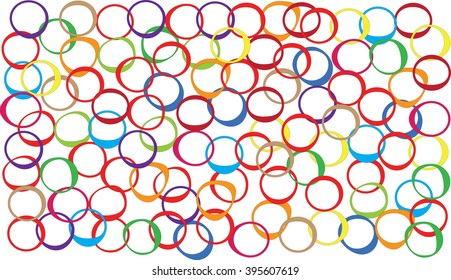 Many colored oval, arranged disorderly on a white background