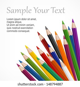 Many colored wooden pencils & text on white, vector illustration