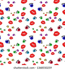 Many colorful eyes, Seamless Wallpaper pattern.