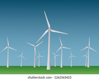 Many cool modern windmills vector to generate electricity from wind in open field and sky for renewable energy industry illustration