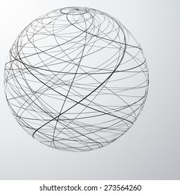 Many Curved Strings Globe Icon or Logo Design for your Company, Vector Illustration