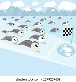 Many cute penguin slide , Competition slide for fish The back is a snow mountain And the falling snow.