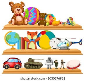 Many cute toys on wooden shelves illustration