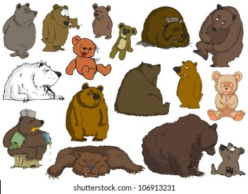 Many different bears on a white background