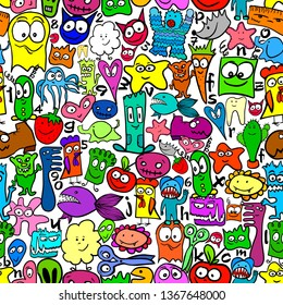 Many different funny animals and monsters. Seamless background