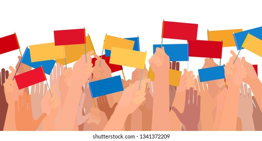 many different hands holding colorful flags, mass demonstration or political meeting concept