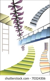 many different multicolored stairs, right way concept, vector