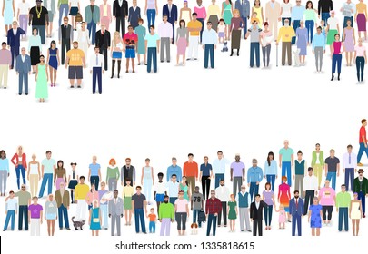 Many different people, group,  place for text, vector illustration design