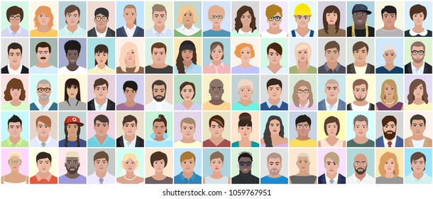Many different people, portrait, vector illustration