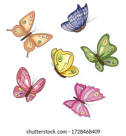 many different shapes and colors of butterflies on a transparent background
