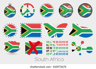 Many Different styles of flag for South Africa