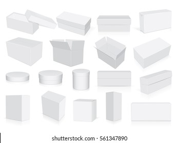 many different white cardboard boxes easy to change colors Mock Up. Vector Template