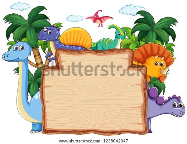 Many dinosaur on wooden banner illustration