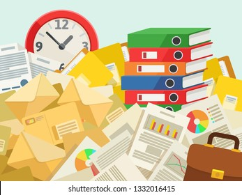 Many documents, mails, folder, files. Very busy, lot of work concept. Under time pressure. Cluttered desk with papers and documents. Business vector illustration, flat cartoon style.