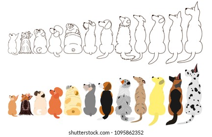 Dog Sitting from Back Stock Illustrations, Images & Vectors