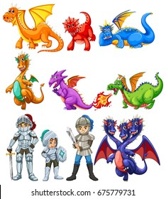 Many dragons and knights on white background illustration