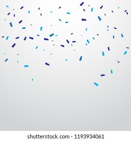 Many Falling Blue Confetti Isolated On White Background. Vector
